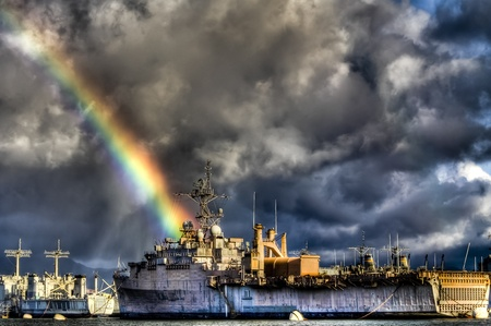 HDR image of ship near Pearl Harbor with Rainbow