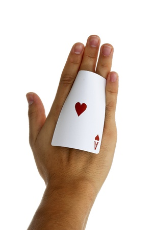 Ace of hearts held in hand photo
