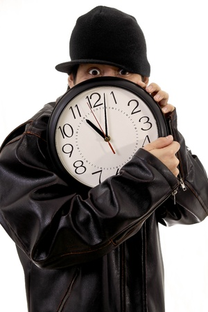 up time: Thief stealing a clock