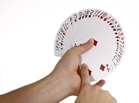 Deck of cards spread in hand photo