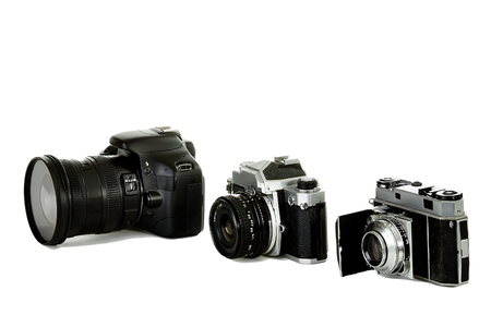 35mm: three 35mm cameras representing the changes from the beginning of 35mm to present day