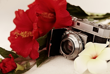 35mm: antique 35mm film camera in white sand with red hibiscus and yellow plumeria