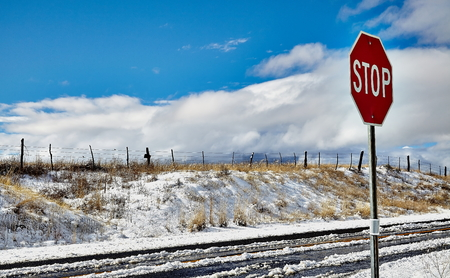icey: stop sign on side of road with snow covered street