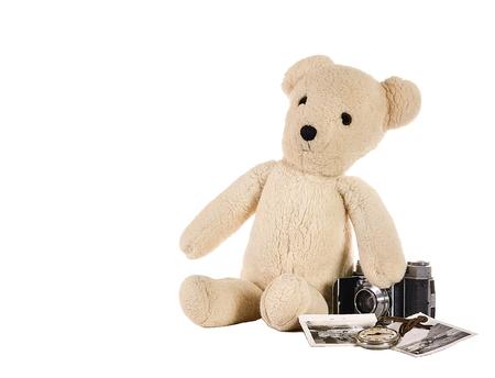 memorabilia: vintage teddy bear with memorabilia Stock Photo