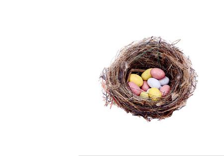 nido de pajaros: Caballo p�jaros pelo nido con huevos de colores aislados en blanco Foto de archivo