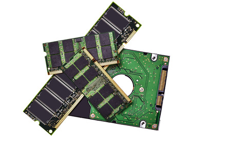 gigabytes: Memory Chips and Hard Drive isolated on White