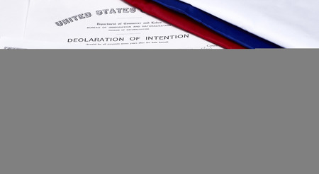 illegal alien: Certificate of US Citizenship, declaration of intention, fingerprint card and passenger manifest with red, white and blue ribbon