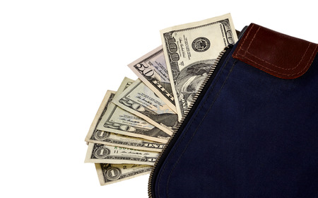 two us dollar: Money bag containing US Currency including a hundred dollar bill, a fifty, two twenties and three ones.