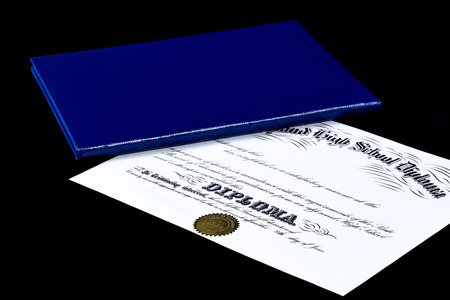baccalaureate: High School Diploma with leather cover