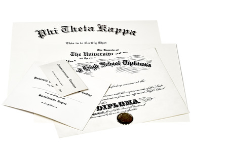 fraternity: Education certification documents including high school diploma,commencement ticket, fraternity certification and university degree