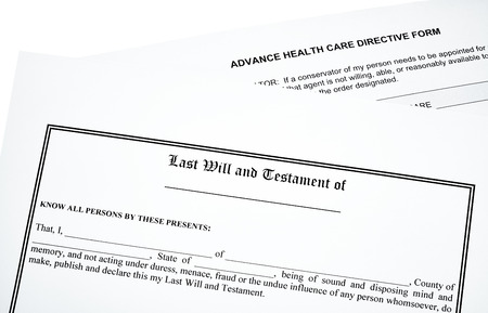 will return: Last Will and Advance Medical Directive isolated on white
