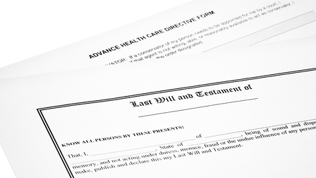 will return: Last will and testament with medical directive form isolated on white