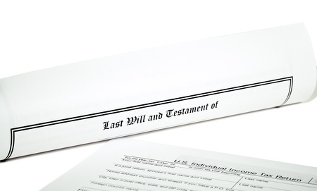 will return: Last Will and Testament rolled up with tax return isolated on white