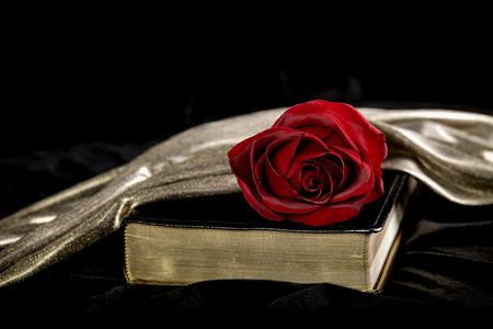 black velvet: Red Rose laying on a bible, draped in satin and black velvet