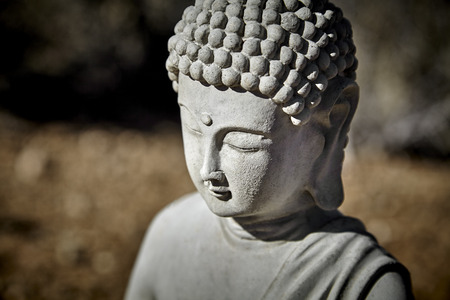 masters of rock: Close up of Buddha Statue showing head and closed eyes made out of cement Stock Photo