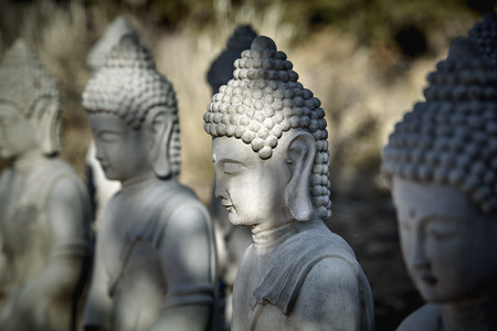 masters of rock: Buddha statues made out of cement in lotus position meditating Stock Photo