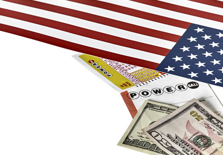 fifty dollar bill: Power Ball Lottery tickets with an American Flag and a one hundred and fifty dollar bill isolated on white