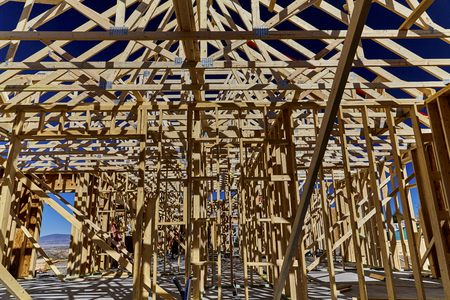 contracting: Wood framework on  new home construction