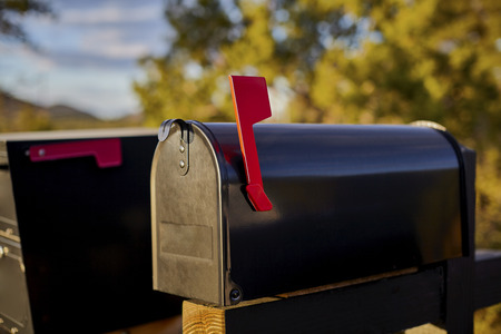 united states postal service: Black Mailbox with red flag up and shallow depth of field