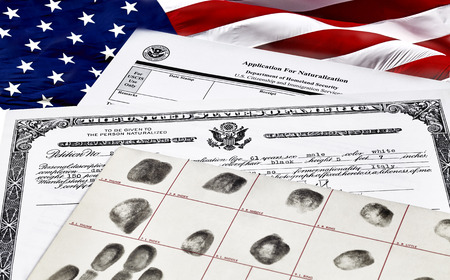 citizenship: Certificate of Citizenship, fingerprint card and application for naturalization, with American Flag