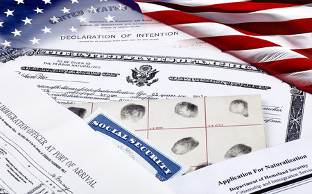 unlawful act: US Certificate of Citizenship, declaration of intention, fingerpirnt card, social security card, application for naturalization and port of arrival manifest with American Flag