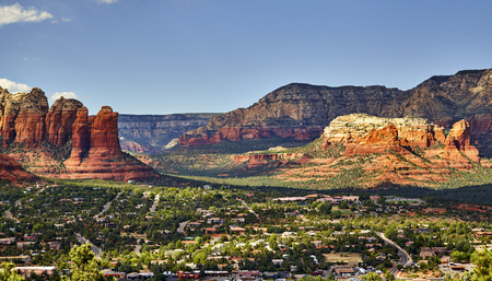red rock: Scenic overlook of Sedona Arizona with Red Rock Mountains in Background