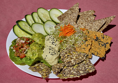 sesame cracker: Plate of healthy organic  appetizers including guacomole, salsa, hummus, raw crackers, seeds, seaweed and cucumbers
