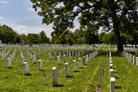 gravesite: United States Flag on gravesites at Arlington National Cemetery on Memorial Day