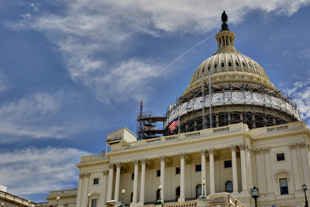 congressional: Washington DC, USA - May 30, 2016: Scaffolding on the dome of the US Capitol Building in Washington DC Editorial