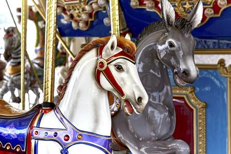 carousel horse: Close up of a carousel horse head Stock Photo
