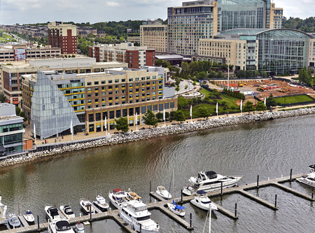 aerial photograph: Ft. Washington, Maryland, USA - June 4, 2016: Aerial photograph of National Harbor with the Gaylord Convention Center
