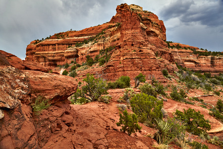 red rock: Large red rock formation in Sedona Arizona