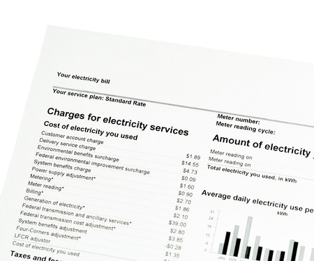 kilowatt: Close up of charges for electricity services on statement