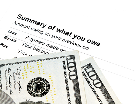 owed: Statement of charges owed with US Currency