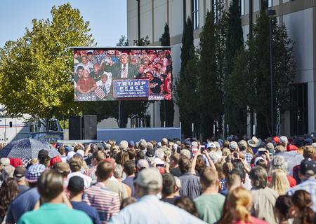 republican party: Prescott Valley, Arizona, USA - October 4, 2016: Donald Trump rally in Prescott Valley Arizona showing video screen of speech taking place inside event center