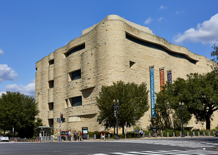 historical monument: Washington DC, USA - October 2, 2016: Street view of the National American Indian Museum at Independence and Fourth Street