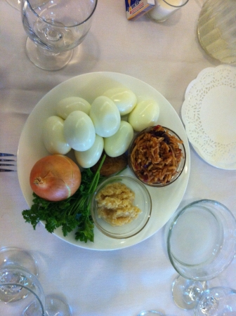 seder: This is food prepared for a Jewish Seder meal
