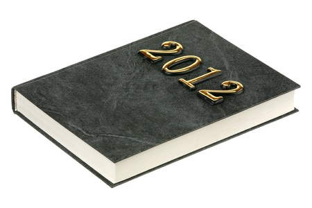 0 1 year: The book 2012 is isolated on a white background Stock Photo