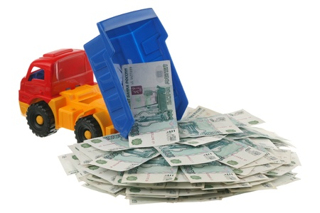 Russian money in the truck are isolated on a white background  photo