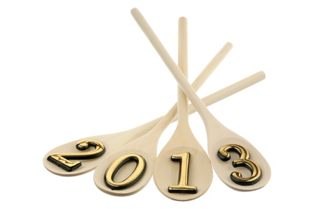 Number 2013 on spoons are isolated on a white background  Stock Photo
