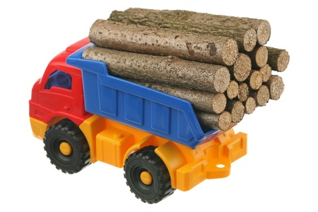 Logs in the truck are isolated on a white background  photo