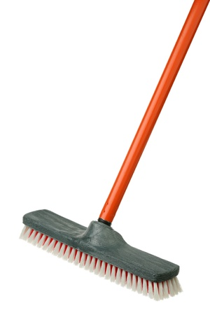 broom handle: The broom with the orange handle is isolated on a white background