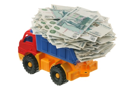 Russian money in the truck are isolated on a white background
