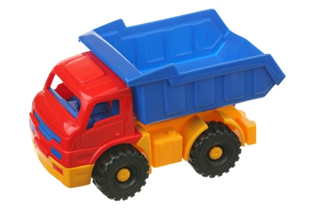 Toy truck is isolated on a white background  photo