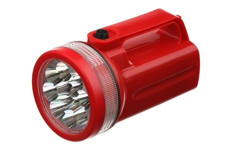 Flashlight red plastic over white background