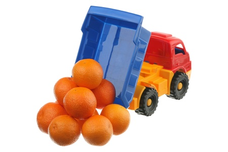 Tangerines in the truck are isolated on a white background  Stock Photo