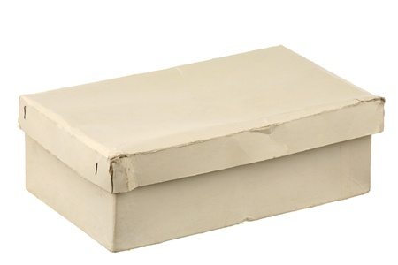 Old cardboard box on a white background