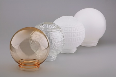 abatjour: Four different lampshades on a gray background  Archivio Fotografico