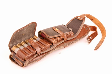 hasp: Old leather bandolier on a white background
