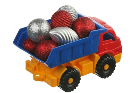 Toys in the truck are isolated on a white background  photo